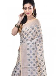 Cream Zari Designer Saree