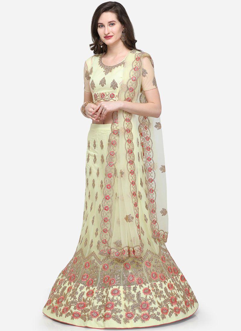 Cream Zari Net Designer Lehenga Choli