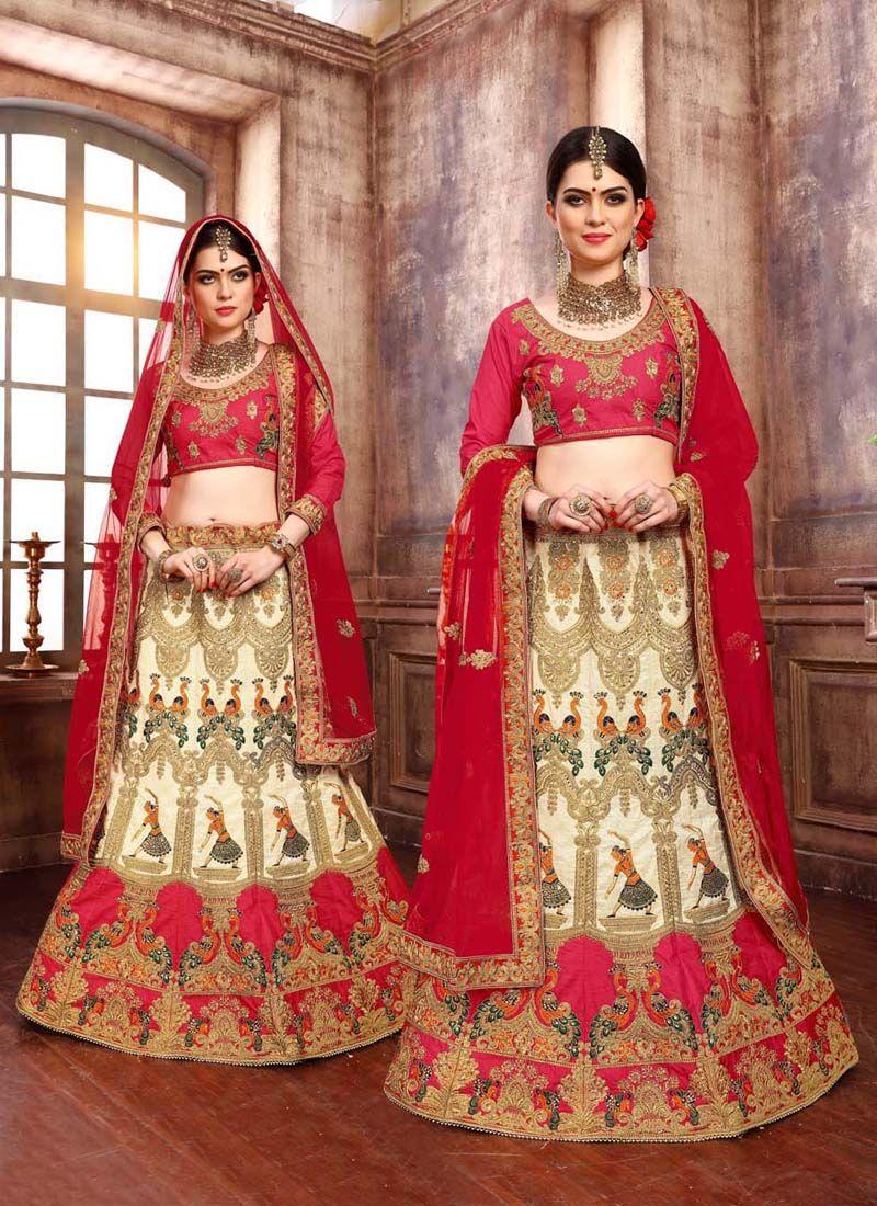 Cream Zari Velvet Designer Lehenga Choli