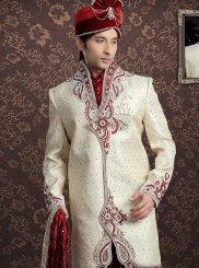 Crepe Jacquard Embroidered Cream Sherwani