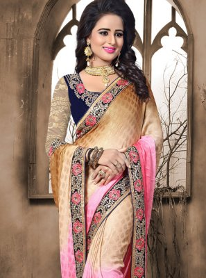 Crepe Jacquard Embroidered Work Shaded Saree