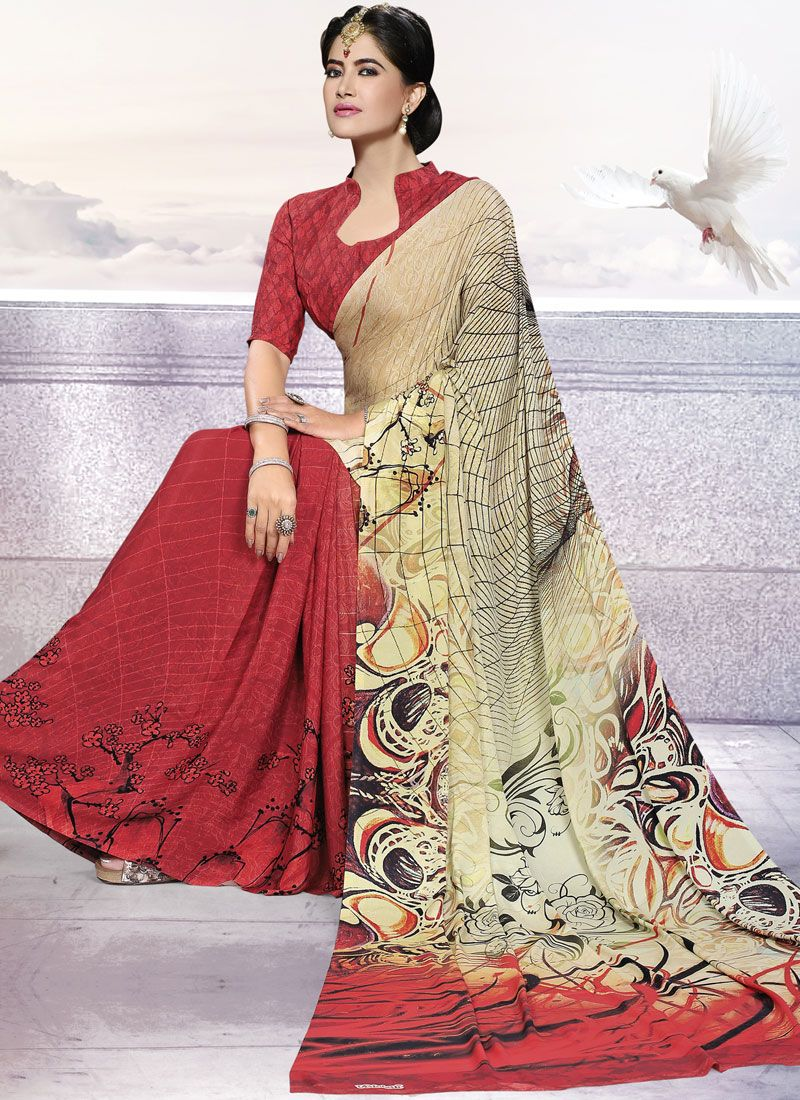 Crepe Silk Beige and Red Printed Trendy Saree