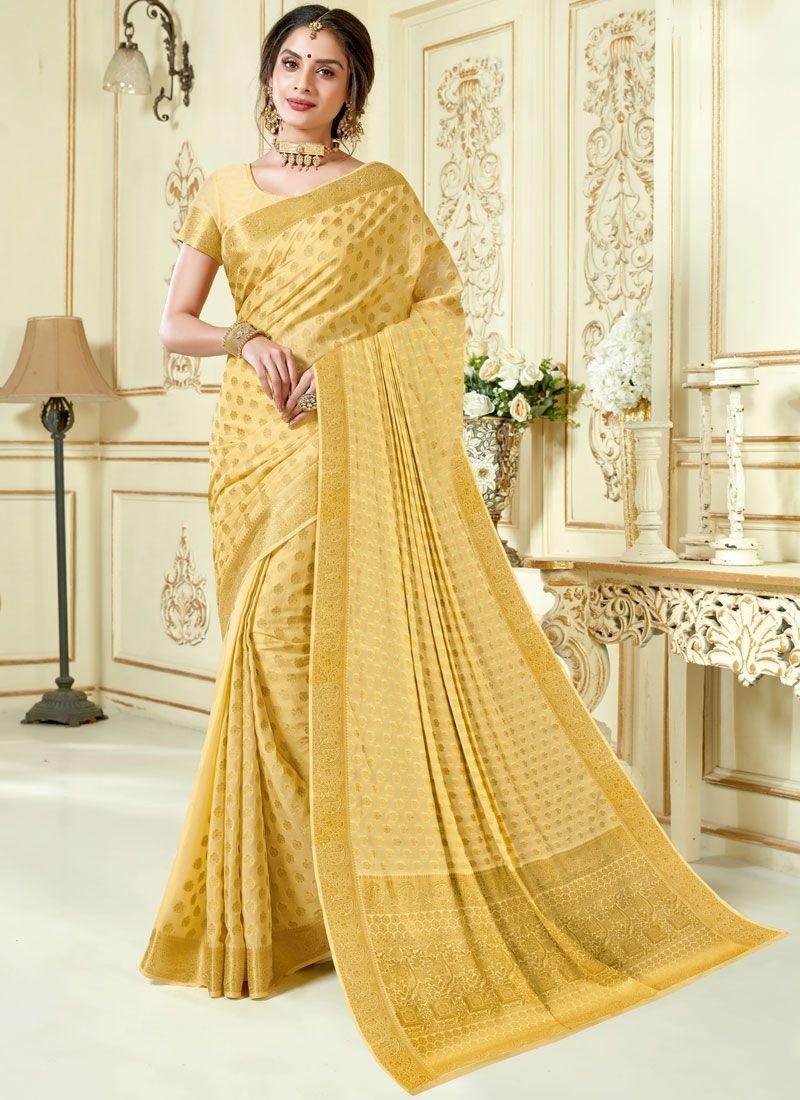 Crepe Silk Beige Designer Traditional Saree