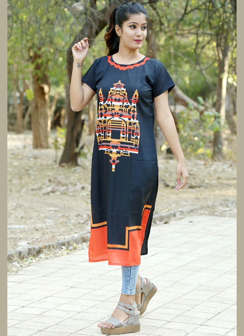 Crepe Silk Casual Kurti in Multi Colour