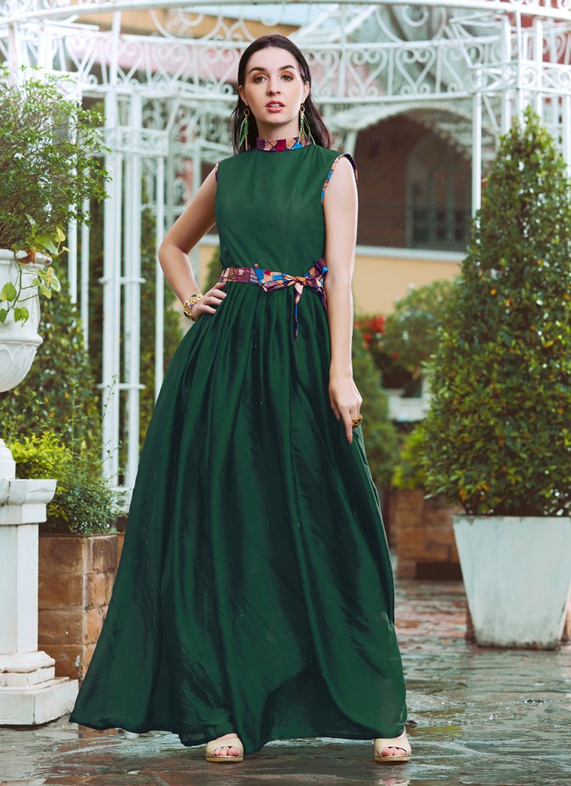 Crepe Silk Fancy Green Readymade Gown