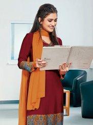 Crepe Silk Maroon Print Churidar Suit