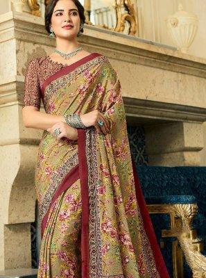 Crepe Silk Multi Colour Abstract Print Printed Saree