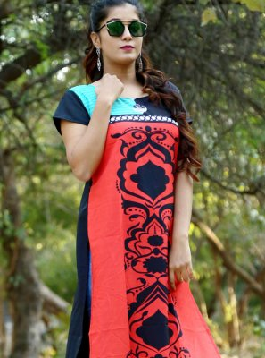 Crepe Silk Multi Colour Print Casual Kurti