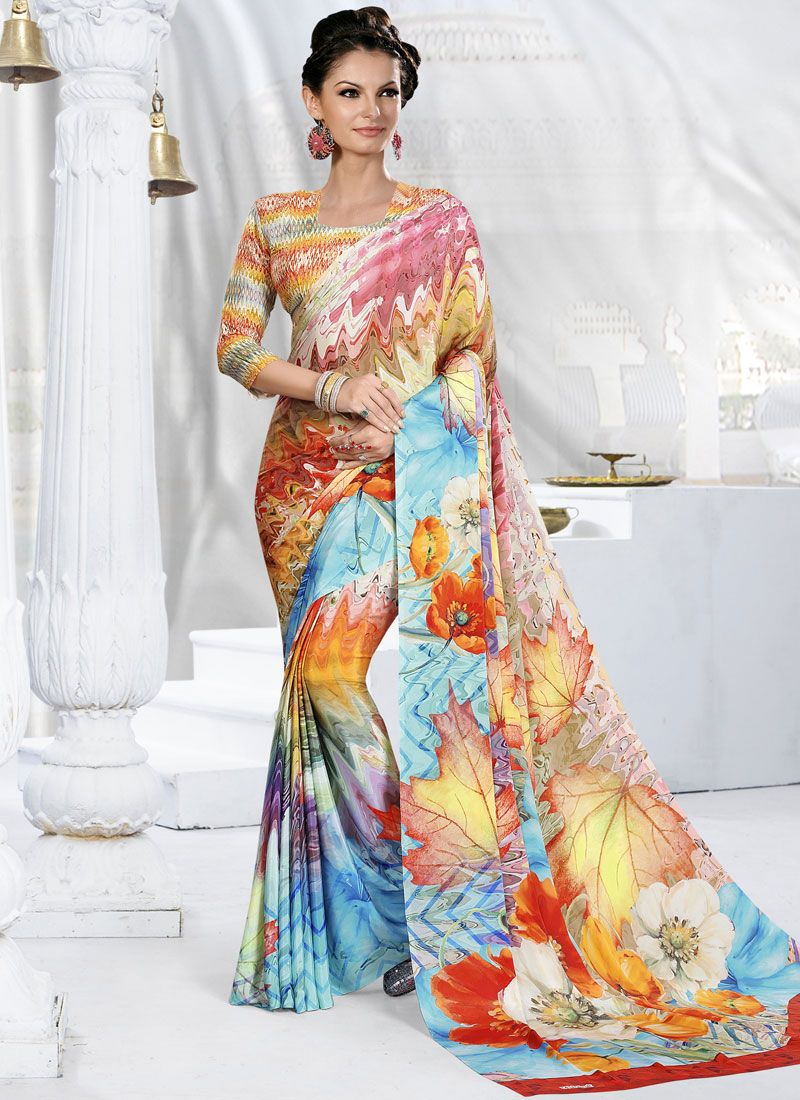 Crepe Silk Multi Colour Printed Trendy Saree