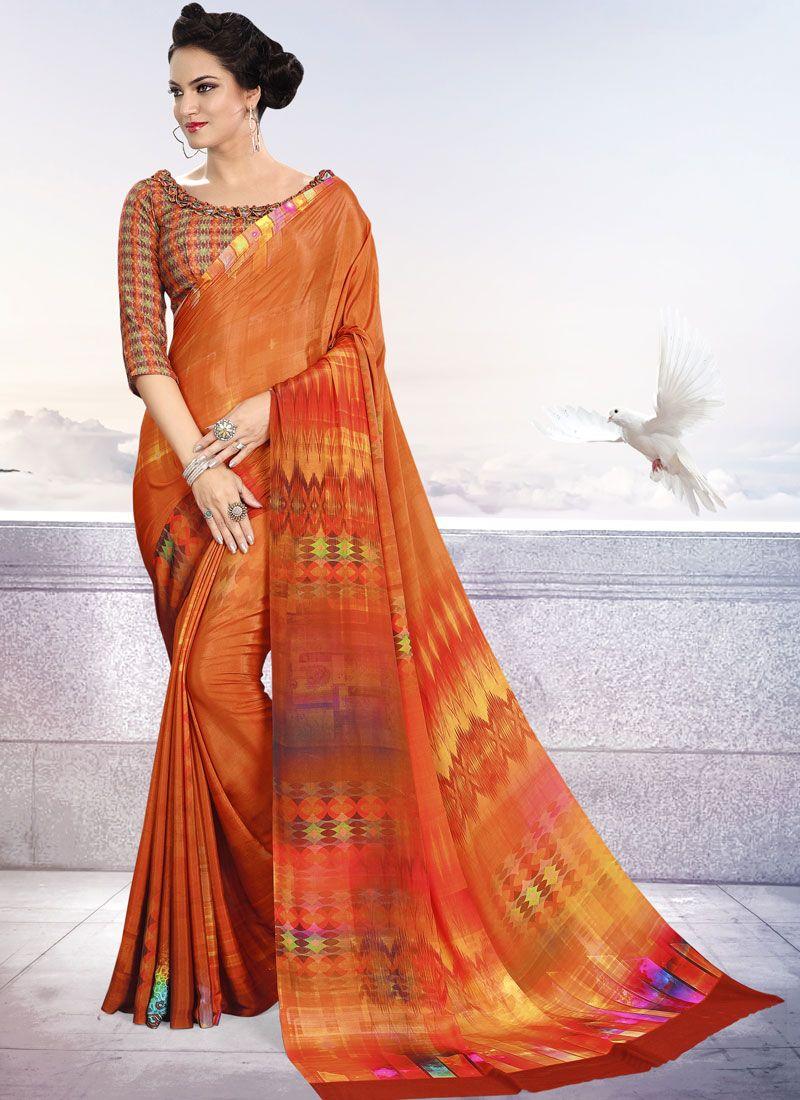 Crepe Silk Orange Trendy Saree