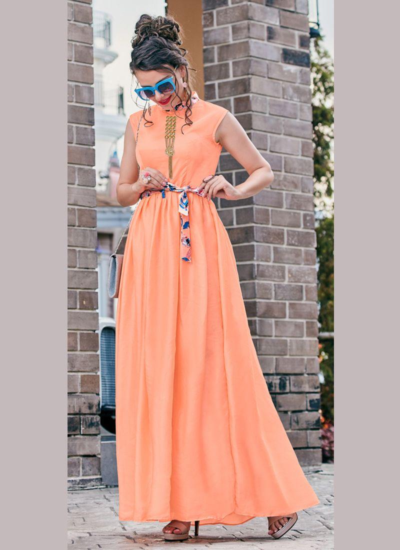 Crepe Silk Peach Fancy Readymade Gown