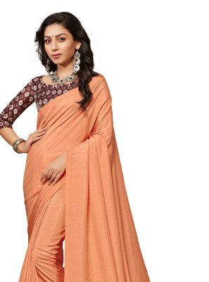Crepe Silk Peach Traditional Saree