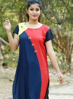 Crepe Silk Plain Casual Kurti in Multi Colour