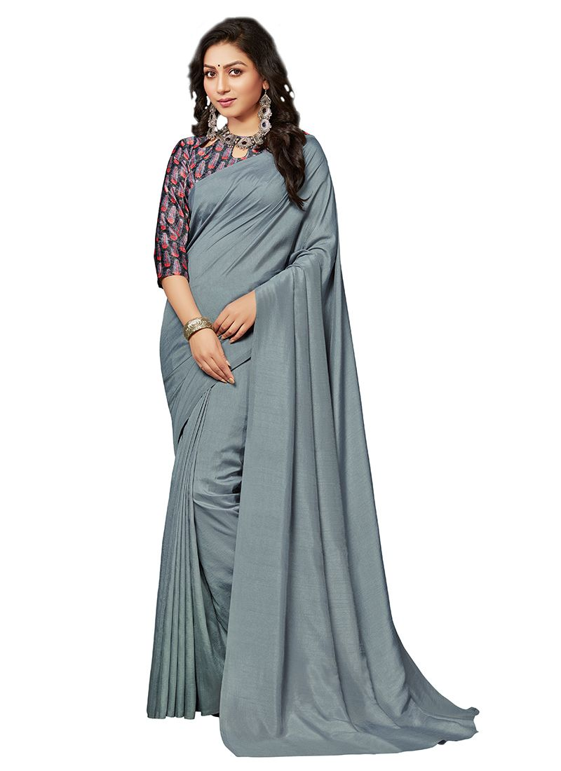 Crepe Silk Plain Grey Traditional Saree