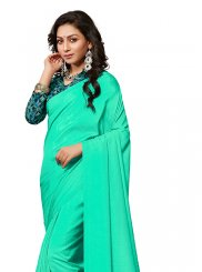 Crepe Silk Plain Traditional Saree in Sea Green