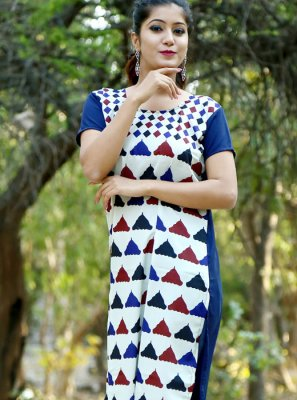 Crepe Silk Print Multi Colour Casual Kurti