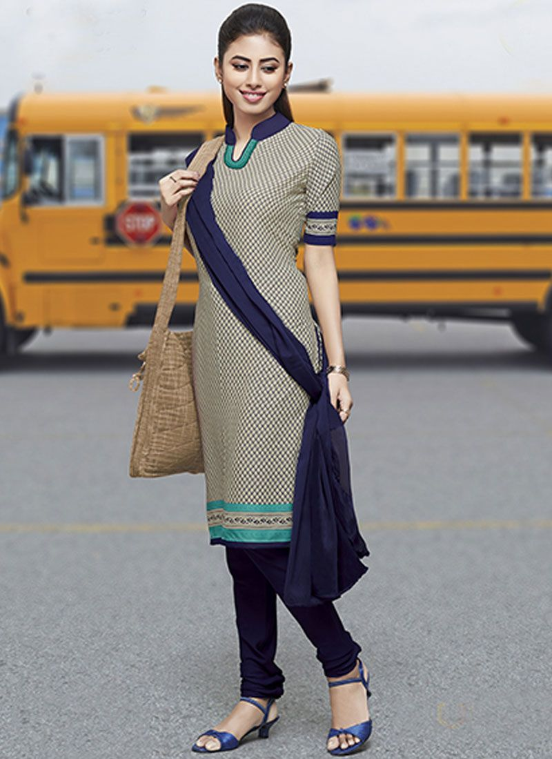 Crepe Silk Print Salwar Suit in Cream