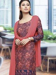 Crepe Silk Print Salwar Suit in Multi Colour