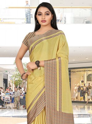 Crepe Silk Print Yellow Trendy Saree