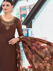 Crepe Silk Resham Brown Churidar Designer Suit
