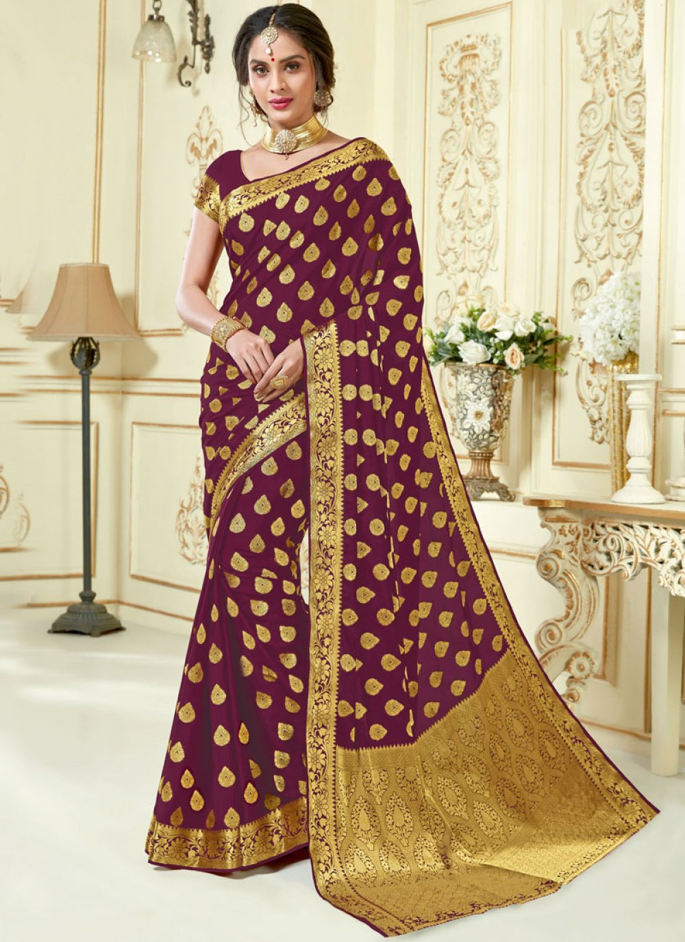 Crepe Silk Wine Woven Traditional Saree