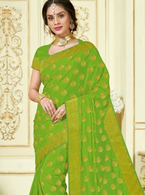 Crepe Silk Woven Sea Green Traditional Designer Saree