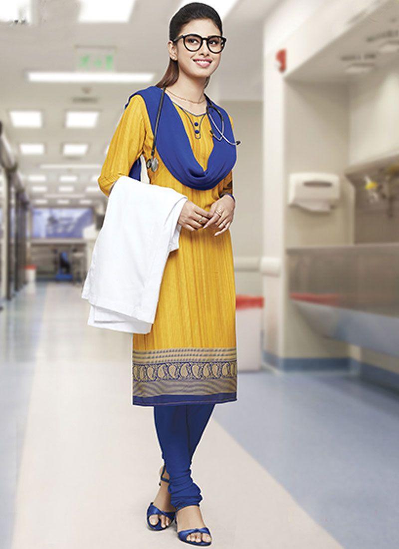 Crepe Silk Yellow Print Salwar Kameez