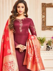 Crimson Designer Straight Suit