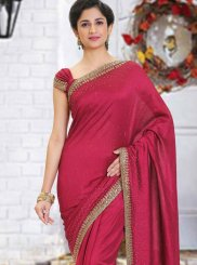 Cutdana Art Silk Classic Saree in Maroon
