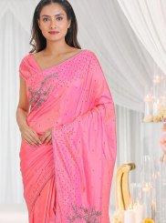 Cutdana Pink Silk Saree