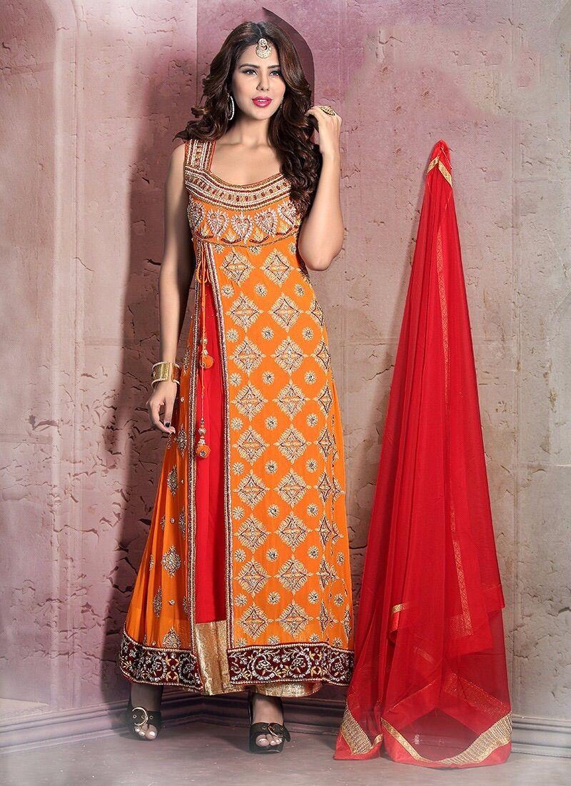 Cutdana Work Orange Anarkali Salwar Kameez