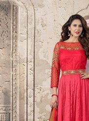 Cutdana Work Red Pure Crepe Anarkali Suit
