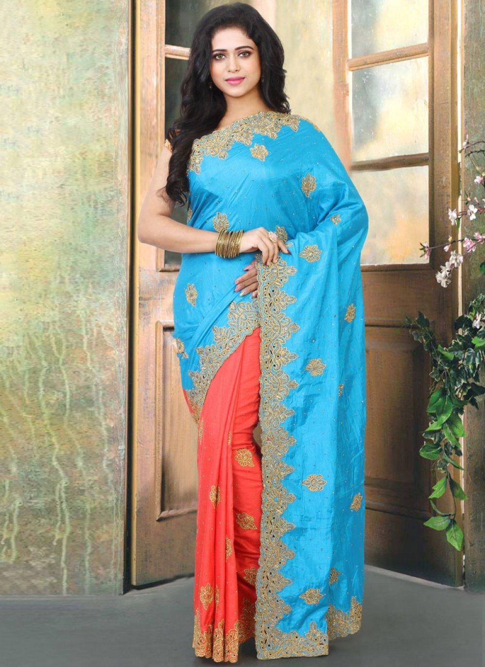 Cutwork Silk Designer Traditional Saree in Firozi and Orange