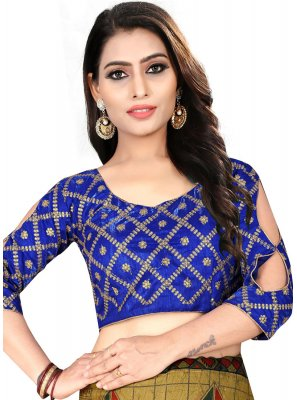 Delightful Blue Color Designer Blouse With Embroidery work