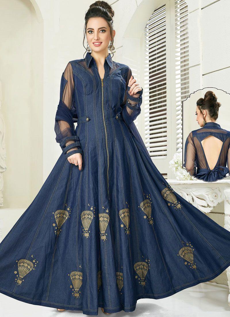 Denim Embroidered Anarkali Salwar Suit