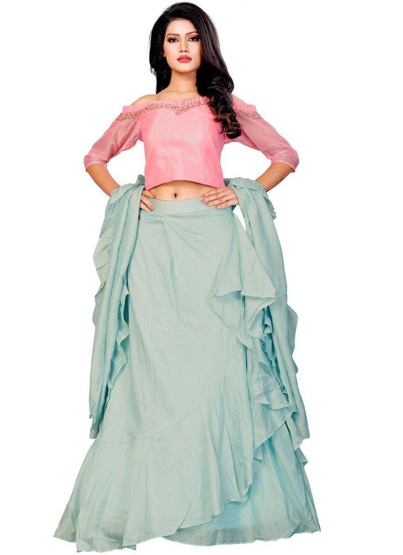 Designer A Line Lehenga Choli Embroidered Fancy Fabric in Sea Green