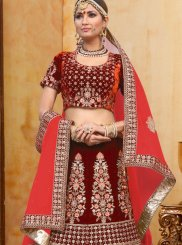 Designer A Line Lehenga Choli Embroidered Velvet in Red