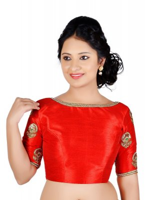 Designer Blouse Embroidered Art Dupion Silk in Red