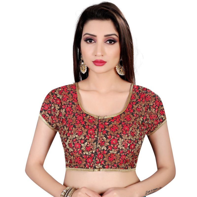 7151b39d72b544 Buy Online Designer Blouse Embroidered Brocade in Black and Red : 112278 -
