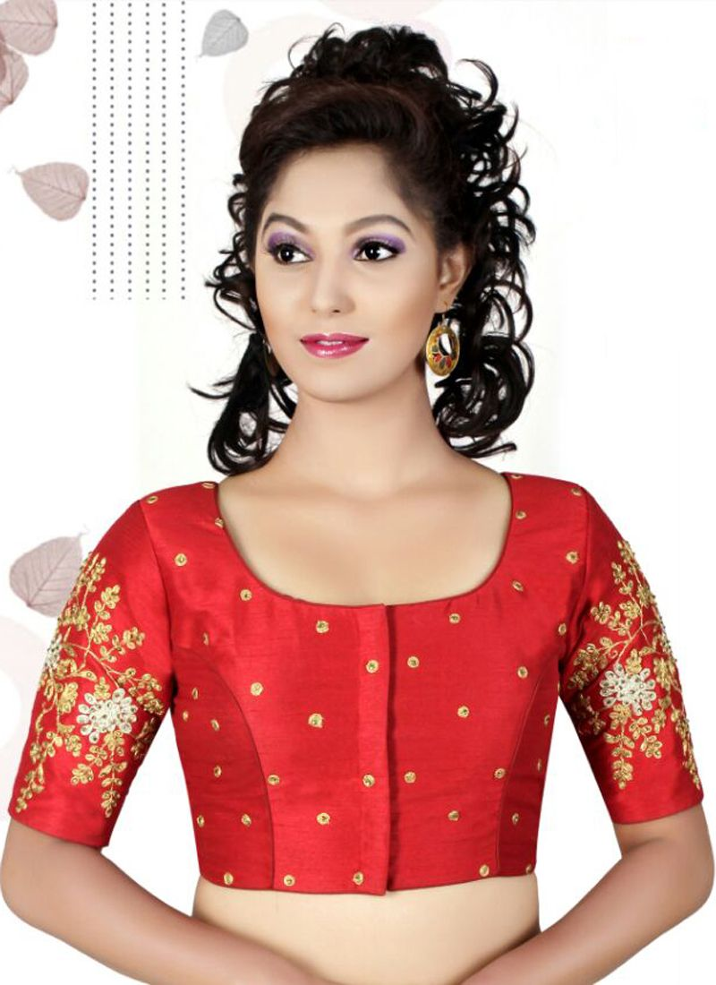 Shop Designer Blouse Machine Embroidery Art Dupion Silk In Red