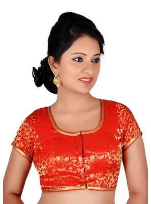 Designer Blouse Machine Embroidery  Brocade in Red