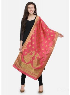 Designer Dupatta Embroidered Banarasi Silk in Peach