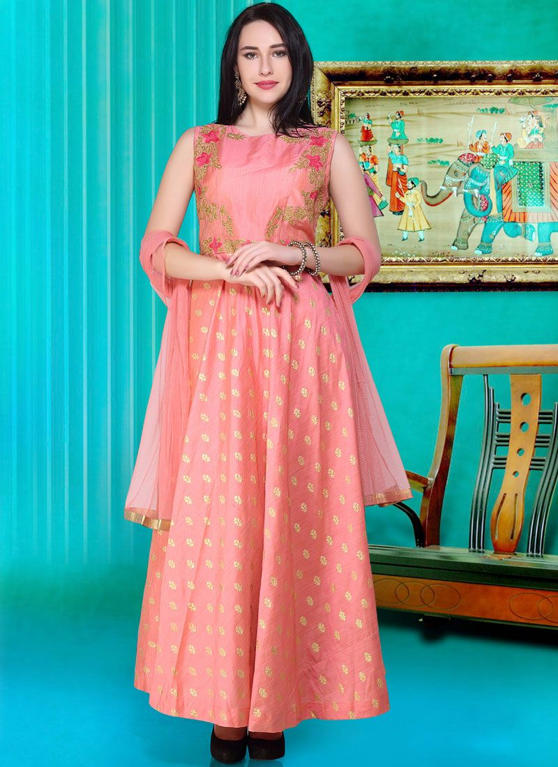 Designer Gown Print Silk in Pink