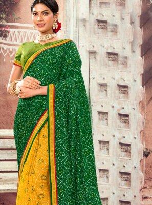 Designer Half N Half Saree Abstract Print Faux Chiffon in Green and Yellow