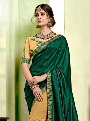 Designer Half N Half Saree Embroidered Georgette in Green