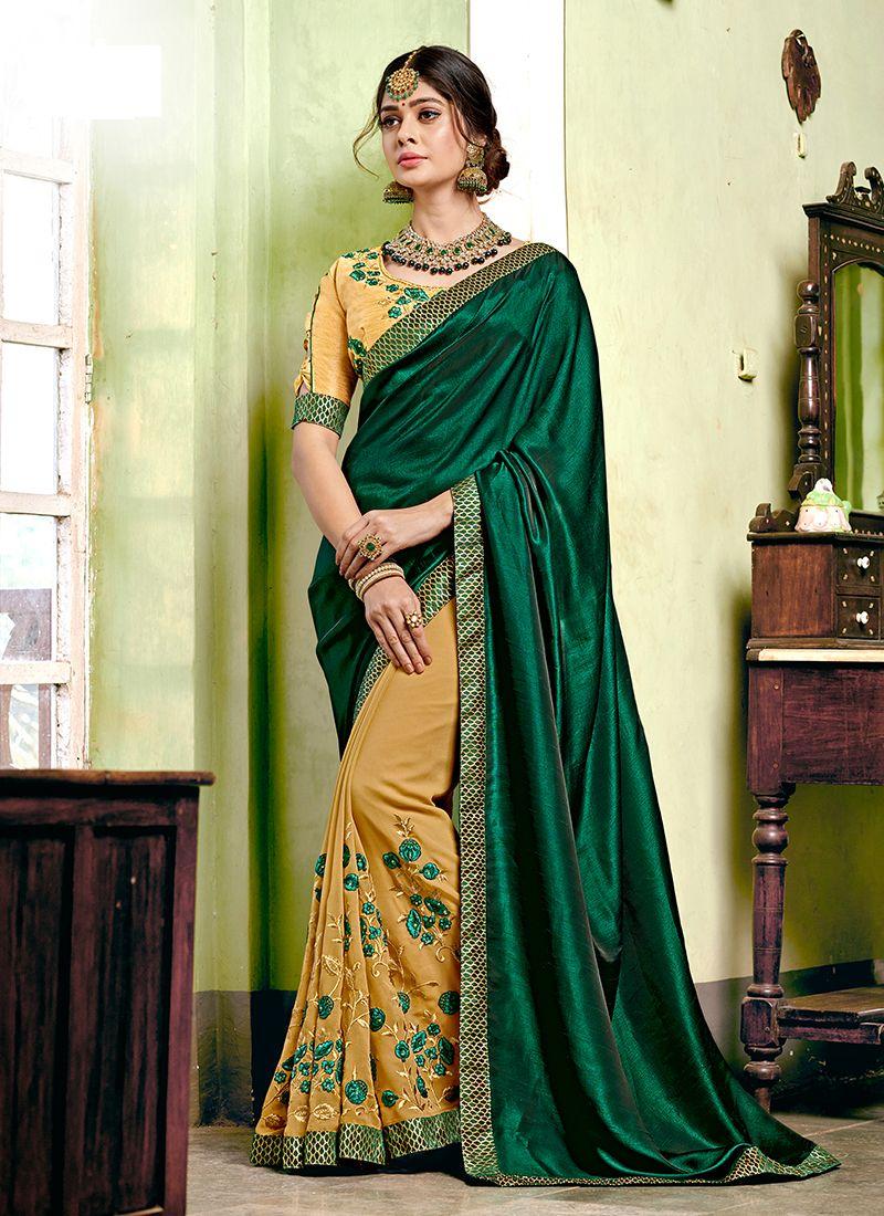 Designer Half N Half Saree Embroidered Georgette in Green