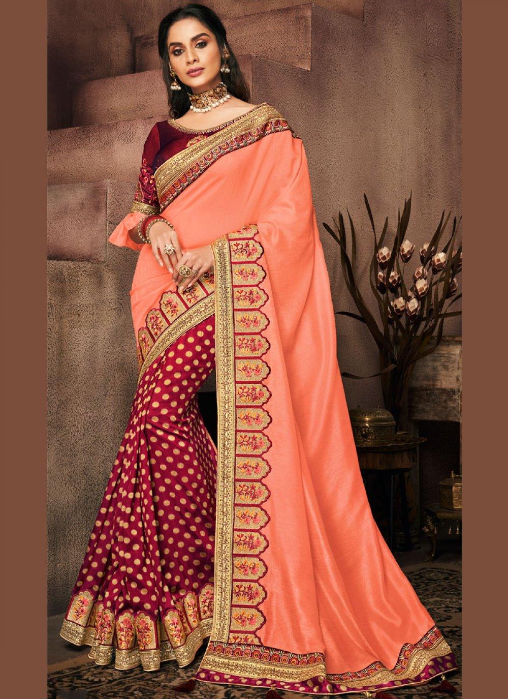 Designer Half N Half Saree Patch Border Art Silk in Maroon and Peach