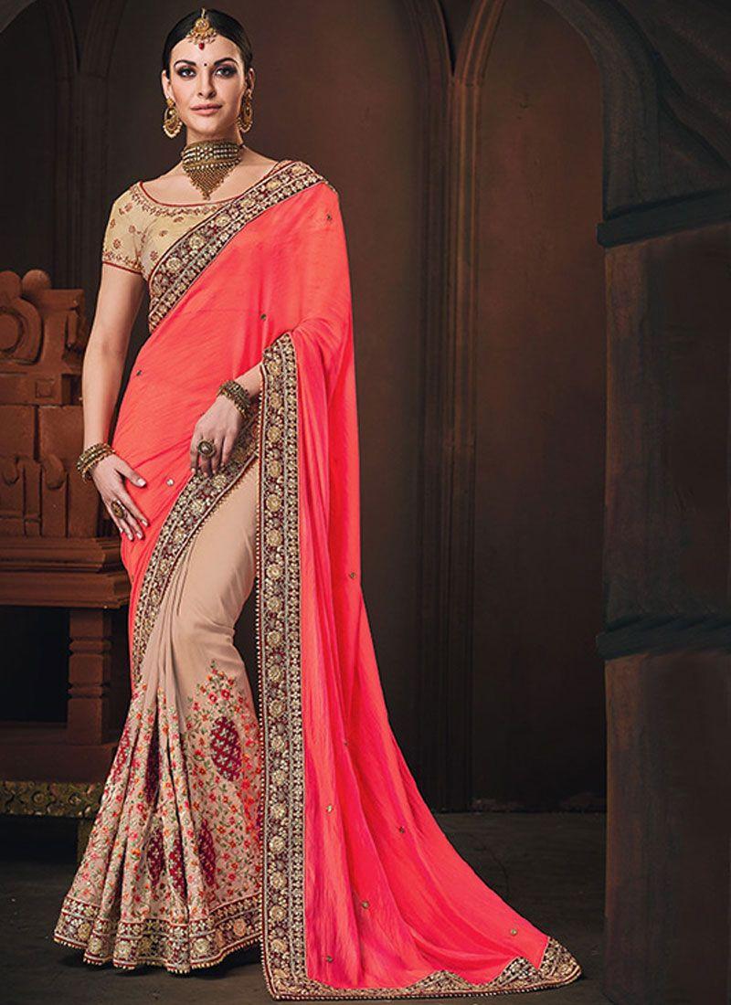 Designer Half N Half Saree Patch Border Art Silk in Pink