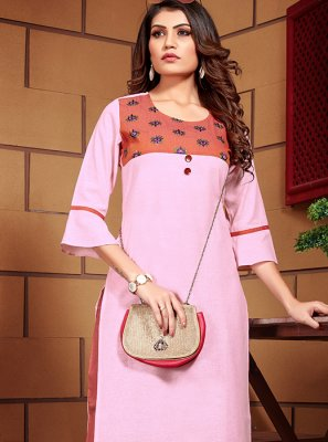 Designer Kurti Embroidered Linen in Pink