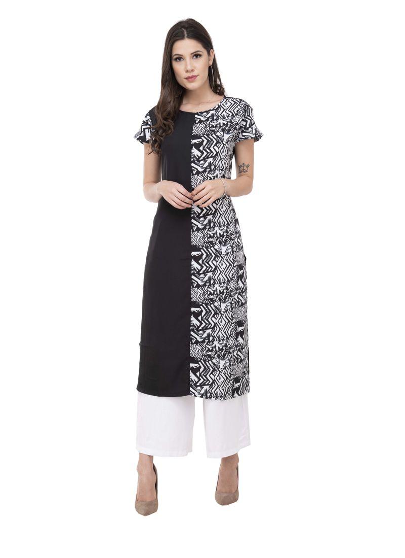 Designer Kurti Printed Rayon in Black